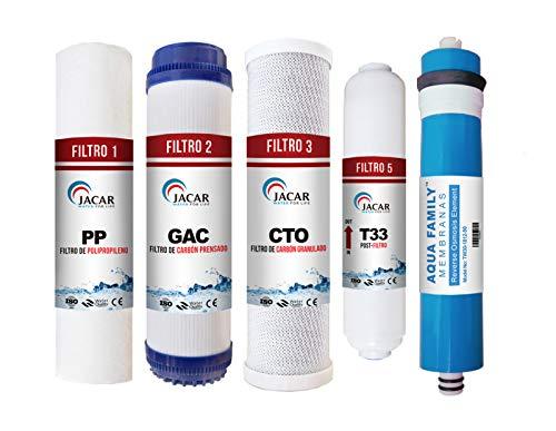 JACAR - Filtros de Osmosis inversa 5 etapas   Membrana Aquafamily   Universales - Nuevo Formato de filtracion Gold   Incluye Teflon + terminales