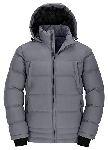 Wantdo Men's Winter Puffer Coat Insulated Windproof Quilted Jacket Grey M