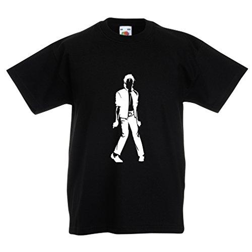 lepni.me Camiseta para Niño/Niña Me Encanta M J - Rey del Pop, 80s, 90s Músicamente Camisa, Ropa de Fiesta (5-6 Years Negro Blanco)