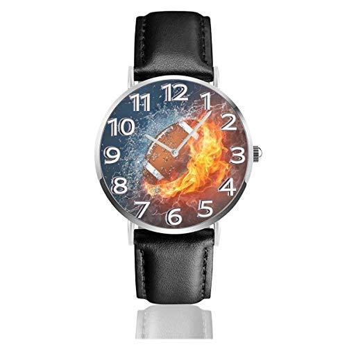 LREFON Armbanduhr American Football in Feuer und Wasser Robuste PU-Lederarmband Quarz Business-Uhren Unisex Casual Armbanduhr