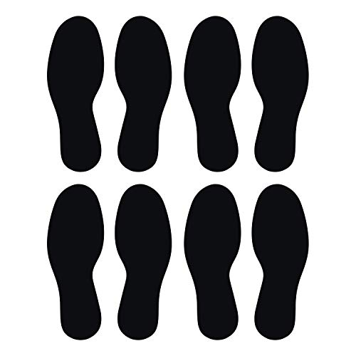 LiteMark Durable Gloss Finish Black 10.5 Inch Large Footprint Decal Vinyl Stickers | Great for Floors, Ceilings, Walls, and Most Smooth Surfaces | Pack of 8 Footprints (4 Pairs)