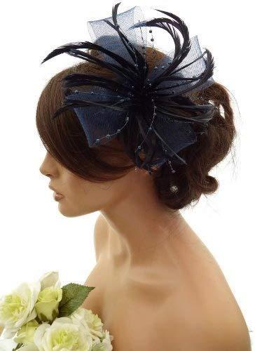 Superbe Plume & Net arc avec perle Corsage De Bijou Cheveux Cheveux Clip - bleu marine, Taille unique