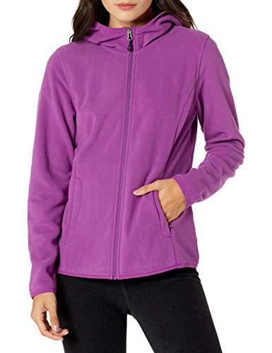 Amazon Essentials Women's Long-Sleeve Hooded Full-Zip Polar Fleece Jacket, Purple, Medium