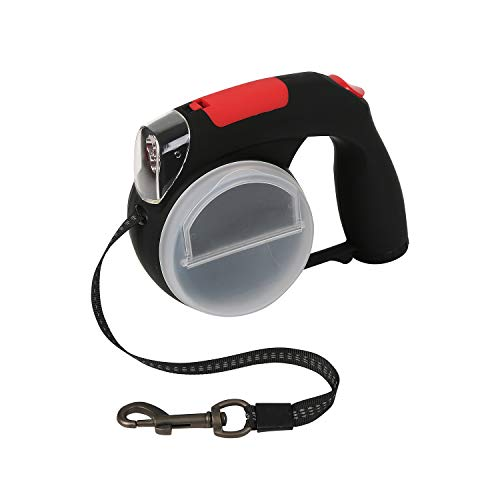 Retractable Dog Leash with LED Flashlight Up to 33 Lbs - Heavy Duty Pet Leash with Treat Container Bowl and Waste Bag Dispenser for Small Breed - 16 FT Strong Nylon Tape 360 Degree Tangle-Free