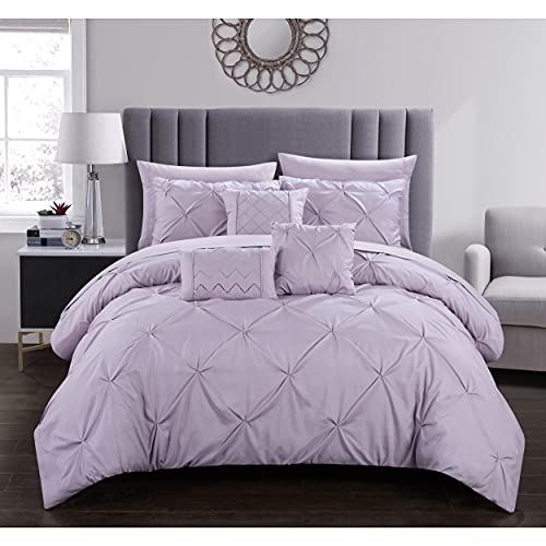 Chic Home Zita 10 Piece Comforter Set Complete Bed In A Bag Pinch Pleated Ruffled Pintuck Bedding with Sheet Set And Decorative Pillows Shams Included, Queen Lavender