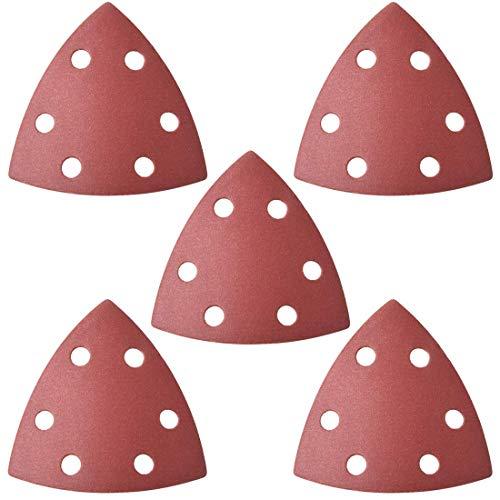 Papel de lija para lijadora minorista, papel de lija triangular, almohadillas de lija con ganchos y hebillas, herramienta versátil oscilante triangular, 400 granos 6 agujeros, 5 unidades