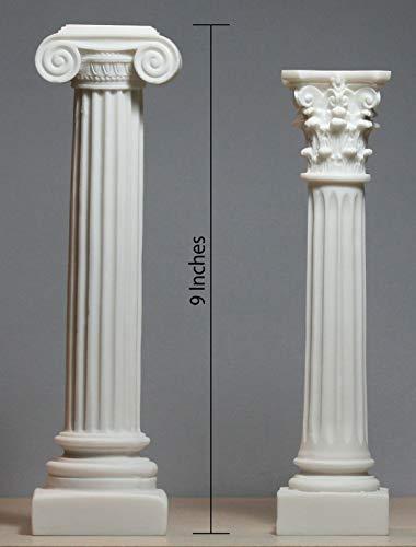 Juego 2columnas griegas Ionic & Corinthian Estilo Pilar Pedestal Decor Escultura