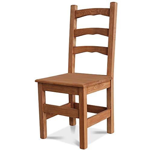Elean Kuechenstuhl (HSL-01) Holzstuhl Esszimmerstuhl Stuhl mit Lehne Kiefer massiv vollholz zusammengebaut Verschiedene Farbvarianten Neu (Nussbaum lasiert)