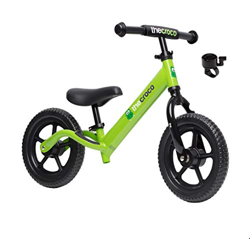 TheCroco Lightweight Balance Bike for Toddlers and Kids… (Green, Premium Aluminum)