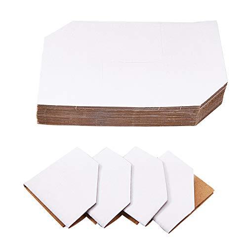 PandaHall Elite 50pcs Blanc Papier Kraft de sécurité Album de Protection d'angle Album de Table Protecteur d'angle, 15x15cm
