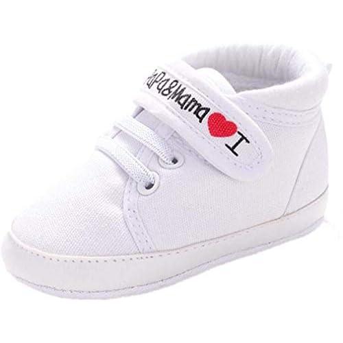Scarpe Neonato Unisex in Pelle Morbida - Ricamo a Forma di Cuore - Sneaker Antiscivolo (età: 0~6 Mesi, Bianca)