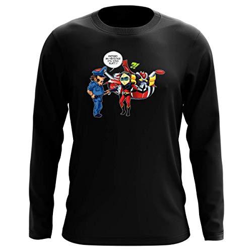 Okiwoki T-Shirt Manches Longues Noir Parodie Goldorak - Actarus - Papiers du véhicule s'il Vous plaît ! (T-Shirt de qualité Premium de Taille L - imprimé en France)