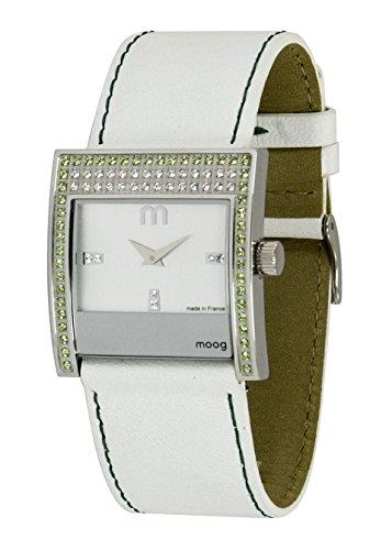 Moog Paris Champs Elysées Reloj para Mujer con Esfera Blanca, Correa Blanca de Piel Genuina y Cristales Swarovski - M44792-003