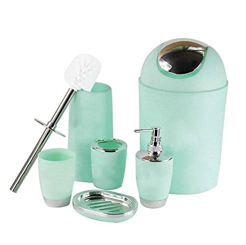 6 Piece Bathroom Accessories Set,Plastic Bath Ensemble Bath Set Lotion Bottles, Toothbrush Holder, Tooth Mug, Soap Dish, Toilet Brush, Trash Can,Mint Green