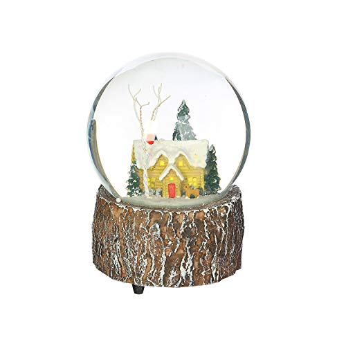 Ivy Home Glass Snow Globe Polystone Musical Water Globe with Christmas House