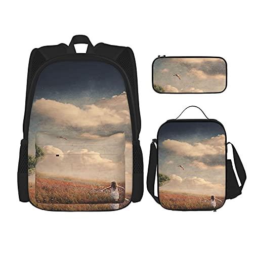Secret Place - Mochila escolar de 3 piezas, bolsa escolar + estuche para lápices + bolsa de almuerzo con impresión 3D, lona para viajes y acampadas