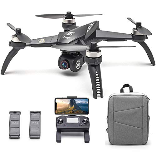 Entweg MJX-Drohne, MJX Bugs 5W B5W RC Drohne mit Kamera 4K Drohne 5G WiFi Brushless RC Quadrocopter GPS Track Flug Point of Interest Geste Foto Video Tragbarer Rucksack 2 Batterien