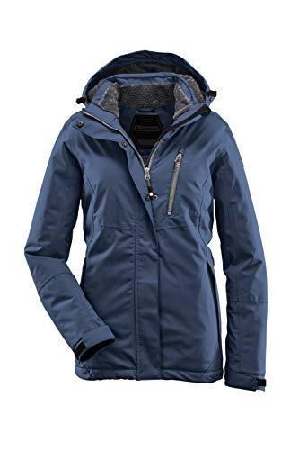 Killtec - Winterjacke Damen Nira / Funktionsjacke mit abzippbarer Kapuze - wasserdichte Outdoorjacke mit Fellfutter - Damenjacke, 34, Blau