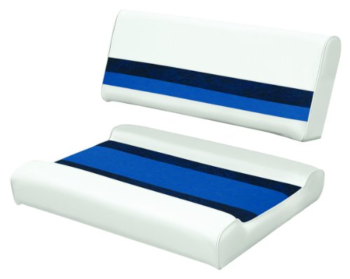Wise 8WD125FF-1008 Deluxe Series Pontoon Flip-Flop Seat Cushion Set, White/Navy/Blue - use with 8WD125FF-1B-204 Base