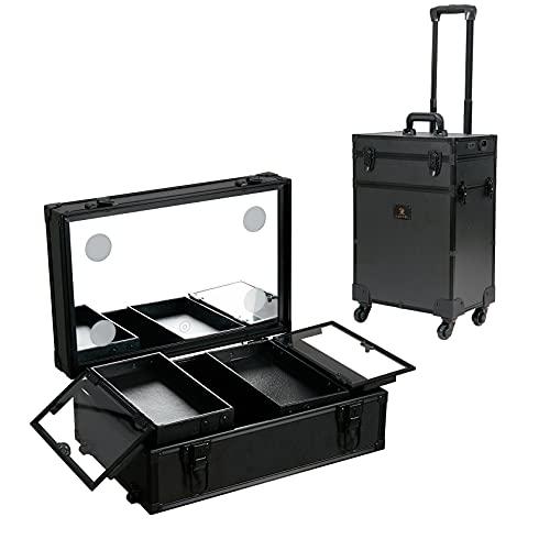 LUVODI メイクボックス 鏡付き 持ち運び 大容量 大型バニティーケース プロ仕様 ledライト 調光可能 蓋付き コスメボックス 鍵付き ネイル ワゴン ミニドレッサー 旅行鏡台 おしゃれ キャスター付き メイクキャリーケース 黒