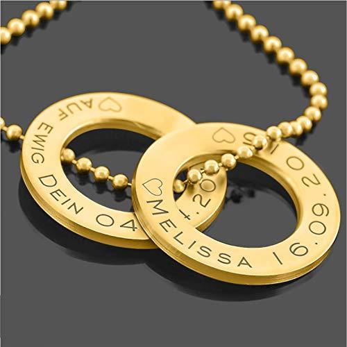 Namenskette Gold 925 Silber Gravur Namen Koordinaten ❤️ Kette Namen Familie Liebe ❤️ Ring Goldkete Jahrestag Datum Damenkette schlicht Schmuck modern | HANDMADE IN GERMANY