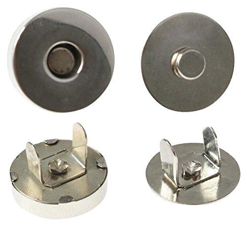 10 x Magnetverschluß Magnetknopf Magnetschließe aus Metall - rund - Durchmesser: 10 - 18mm - Magnetischer Verschluss für Textilien und Taschen - selbstzentrierend - zur Befestigung an Leder oder Stoff, Größe:Ø 10mm