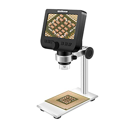 LCD Digital Microscope, ONETEKS WiFi 4.3 inch 50X-1000X Magnification Zoom HD 1080P 2 Megapixels USB Microscope with Aluminium Alloy Professional Base Stand (32G TF Card Included)