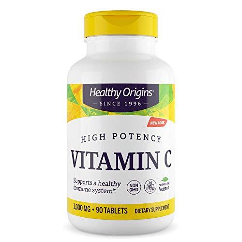 Healthy Origins Premium Vitamin C 1000mg 90 Tablets not Capsules | High Strength Ascorbic Acid Suitable for Vegans | Vitamin C Supplement for Immune System