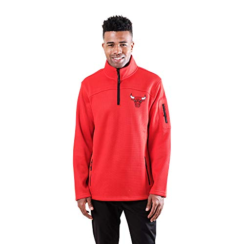 Ultra Game NBA Chicago Bulls Mens Quarter Zip Fleece Pullover Sweatshirt with Zipper Pockets, Team Color, X-Large