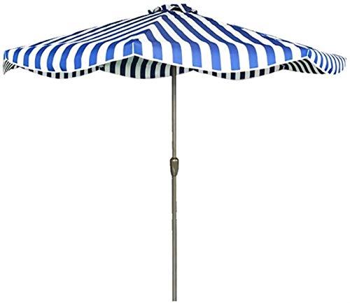 Sombrillas De Jardín Al Aire Libre Sombrilla De 9 Pies / 2,7 M Rayas De Moda Sombrilla De Mesa De Jardín Con Manivela Para Exteriores, Para Sombrillas De Patio / Playa / Piscina,Uv50 +,Sin Base D