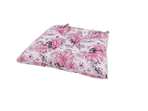 CB Home % Style Sitzkissen Stuhlkissen Blumen Landhaus Vintage Rosen rosa grau (Stuhlkissen40x40cmcreme)