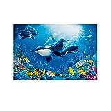 JYTFGDRYJ Wale in Korallenriffen, Leinwand-Kunst-Poster und