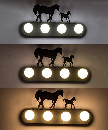 Retro mur industriel lampe lumière, le salon la chambre baignoire personnalité couloir avant miroir lampe avec ampoule, 60×30cm, deux chevaux, l'ampoule LED de 5 watts avec gradateur 3-couleurs