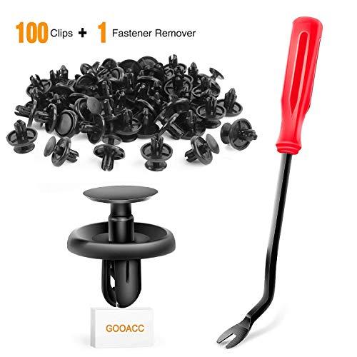 GOOACC GRC-32 100 Pcs 100pcs Type Retainer for Lexus Toyota Body, Splash Shield Clips 90467-07201 Replacement, Quality Nylon Push Rivets with Bonus Fastener Remover
