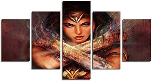 DSNICK-CP 5 Piezas HD Wonder Woman Canvas Scene Wall Art Painting para el hogar Sala de Estar Oficina Mordern Decoración,B,20x35cmx2;20x45cmx2;20x55cmx1