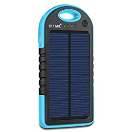 Dizaul Solar Charger, 5000mAh Portable Solar Power Bank Waterproof/Shockproof/Dustproof Dual USB Battery Bank Compatible with All Smartphones,iPhone,Samsung,Android Phones,Windows Phones,GoPro,GPS 8 <p>Made of eco-friendly silicone rubber and ABS + PC material, and with rubber paint surface process. Football grain design has anti-skid protecting effect.Water resistant design ensures the device functions smoothly when it's raining; Shock-proof feature ensures the device work properly even it crashes or drops. With the free hook included, you may hang it on your backpack for long flights, road trips, hiking, camping, or such, handy to carry and charge by solar. The USB ports are well protected by rubber caps, to further keep them away from water and safe to charge smartphones, tablets, or any other 5V USB-charged devices. Solar energy technology,environmental friendly and could recharge itself under sunshine for emergency use;Due to the limited surface of the solar panel,so it only have 1.2W input solar panel,so it takes about 30 Hours to make the solar power bank fully charged under direct sunlight,so it is recommended to charge by wall charger,which only takes about several hours.</p>