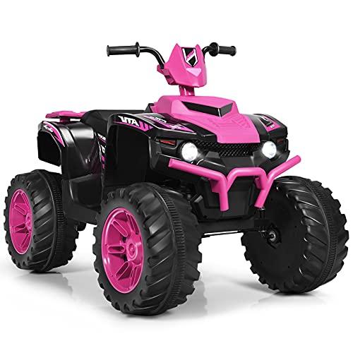HONEY JOY 12V Ride On ATV, 4-Wheeler Battery Powered Toddler Quad, 2 Speeds, LED Headlights, Slow Start, Horn, Bluetooth, Radio, Music, Treaded Tires, Electric Ride On Toy for Kids (Pink)