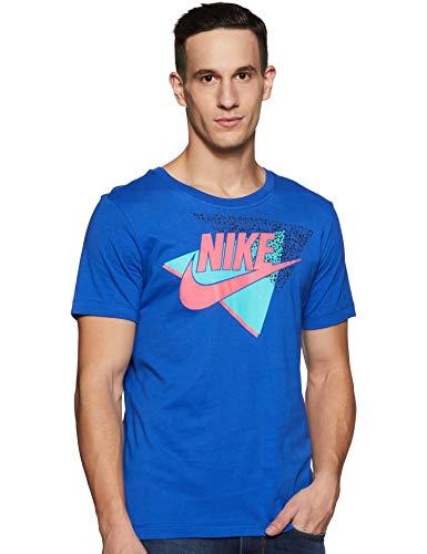 Nike Men's Printed Regular fit T-Shirt (BQ5896-405_Blue_Large)