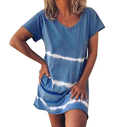 Damen Kleider Sommer V Ausschnitt Kurzarm Sexy Strandkleid Jeanskleid Kleid Großer Größe Boho Kleid Baumwolle Polyester Bedruckt Partykleid Minikleid (EU:40, Blau)