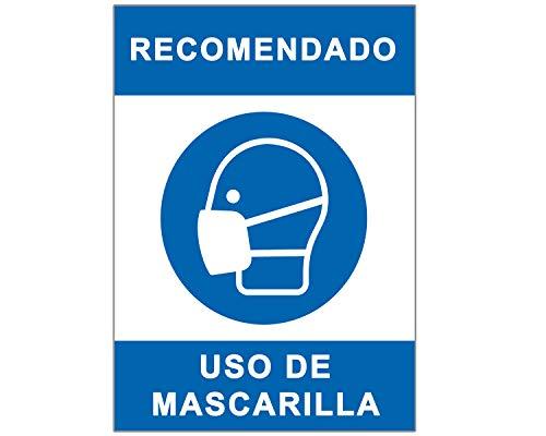 Señal Covid-19 | Cartel Uso de Mascarilla para Establecimientos y Lugares Públicos | Señalización Coronavirus Autoinstalable | 21 x 30 cm | Descuentos por Cantidad