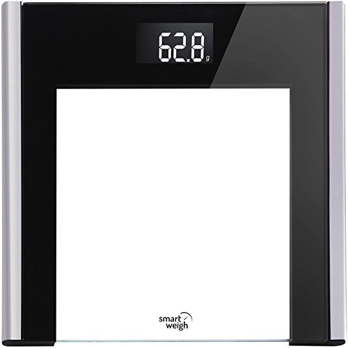 Smart Weigh Vanity Series High Precision Digital Bathroom Scale with Large LCD Display and Tempered Glass Platform with Step-on Technology