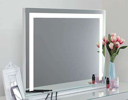 iCREAT Hollywood Spiegel mit Lichtstreifen 70X55 cm Edition groß Schminkspiegel mit Beleuchtung Theaterspiegel Tischspiege