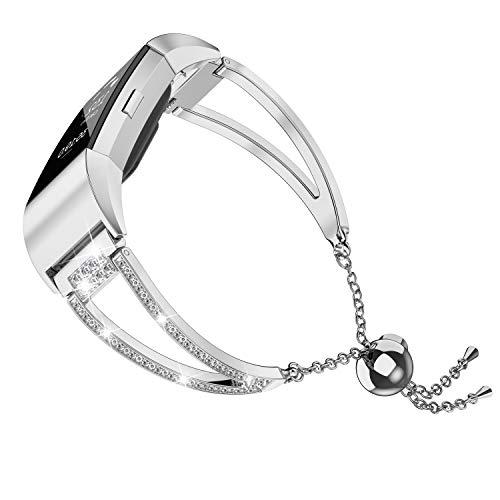 Wearlizer für Fitbit Charge2 Armband, Edelstahl Armbänder Unisex Ersatzband für Fitbit Charge 2 Damen Herren (Strass Silber)