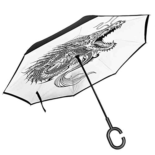 Opening Umbrella Japanese Dragon,Doodle Sketch Artwork Style Detailed Roaring Dragon with Scales and Tail,Black White Umbrellas Strong