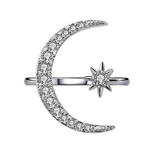 Quanjucheer Anello aperto con strass intarsiati a forma di mezzaluna e stella, idea regalo e Lega, 0, colore: Argento, cod. NNK5O0Y9F1G3466
