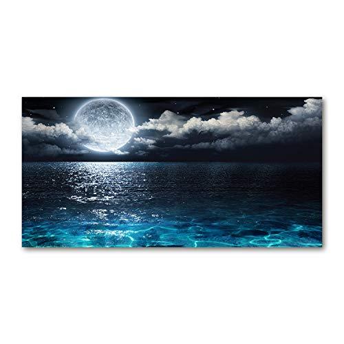 Tulup Cuadro en Acryl - 140x70cm - Mural Art Deco Wall plástico Vidrio Acrílico Cuadro Pintura Acrílica - Cosmos y Ciencia ficción - Azul - Luna Llena