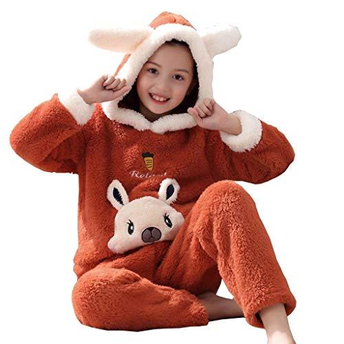 NOSSON Pyjamas Winter Verdicken Mädchen Pyjamas Flanell Kinder Pyjamas Komfortable...