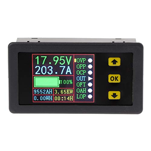 Kcnsieou Útil multímetro digital multifuncional de carga y descarga de batería probador DC 0-90V 0-20A voltios amperímetro
