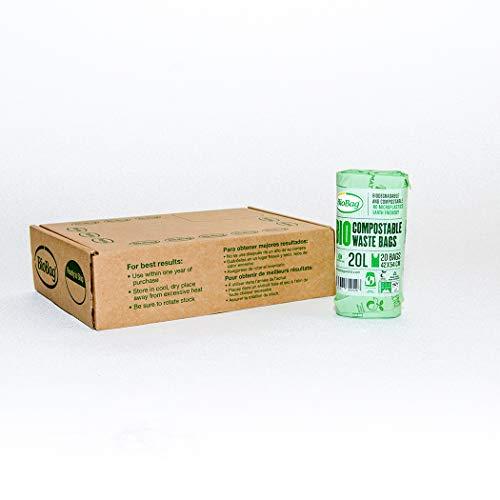 BioBag Bolsas de basura compostables, 20 litros, verde, 120 unidades