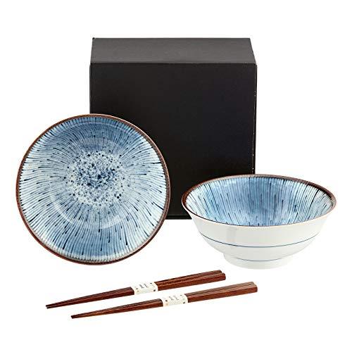 Japanische Suppenschalen Set HANABI Geschenkset Porzellan Suppenschüssel für Udon Soba Ramen inkl. Essstäbchen hergestellt in Japan Ø 18,8 cm, H 7,7 cm